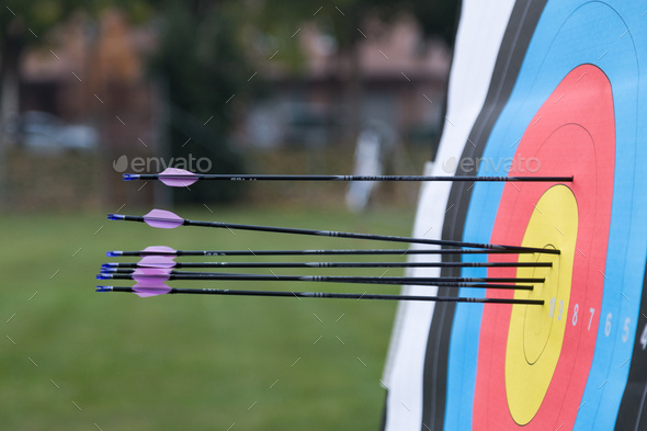 Archery target with arrows on it - Stock Photo - Images