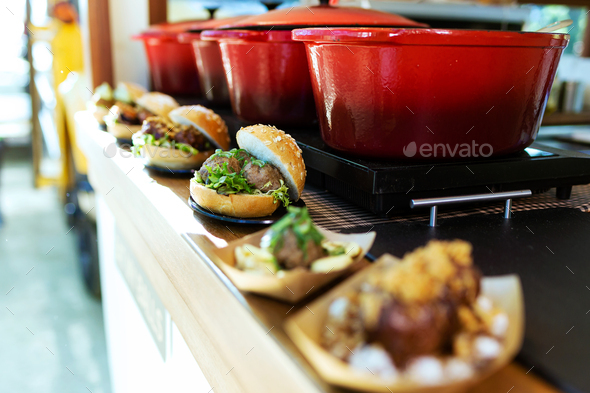 Bread with different types meatballs in a food truck. - Stock Photo - Images