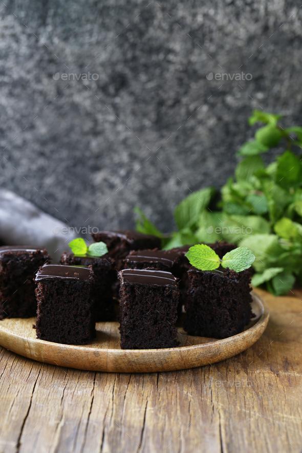 Brownie Chocolate Cake - Stock Photo - Images