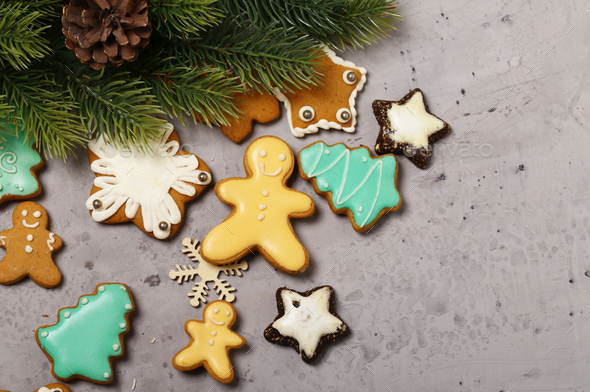 Gingerbread Cookies Christmas Decoration - Stock Photo - Images