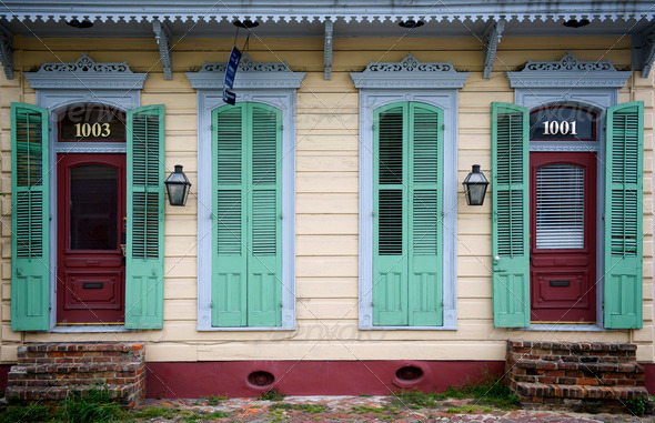 Front of house in New Orleans, Louisiana - Stock Photo - Images