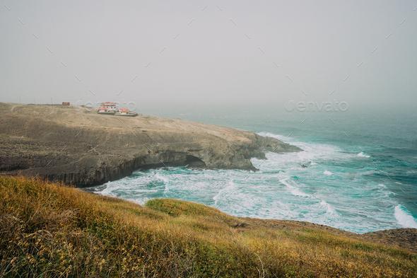 Santo Antao, Cape Verde - Cruzinha da Garca. Coastline with cliffs and Atlantic Ocean waves - Stock Photo - Images