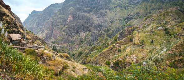Panoramic view of the fertile ravine valley with its agricultural terraces on Santa Antao island in - Stock Photo - Images