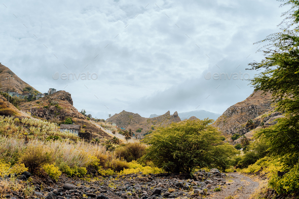 Rural landscape at cloudy weather Santo Antao Island, Cape Verde. Amazing mountains and dry - Stock Photo - Images