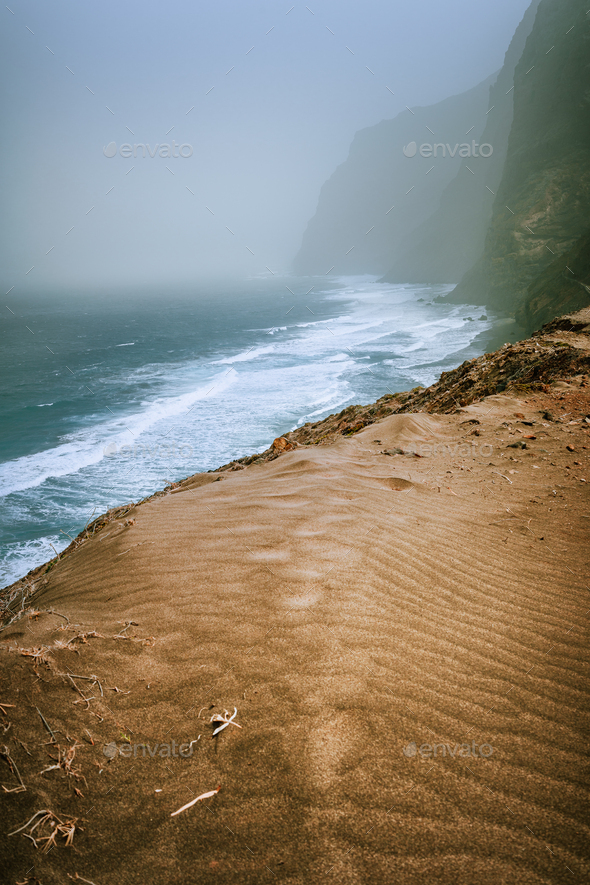 Santo Antao, Cape Verde - Sand dune on the hike trail from Cruzinha da Garca to Ponta do Sol. Moody - Stock Photo - Images