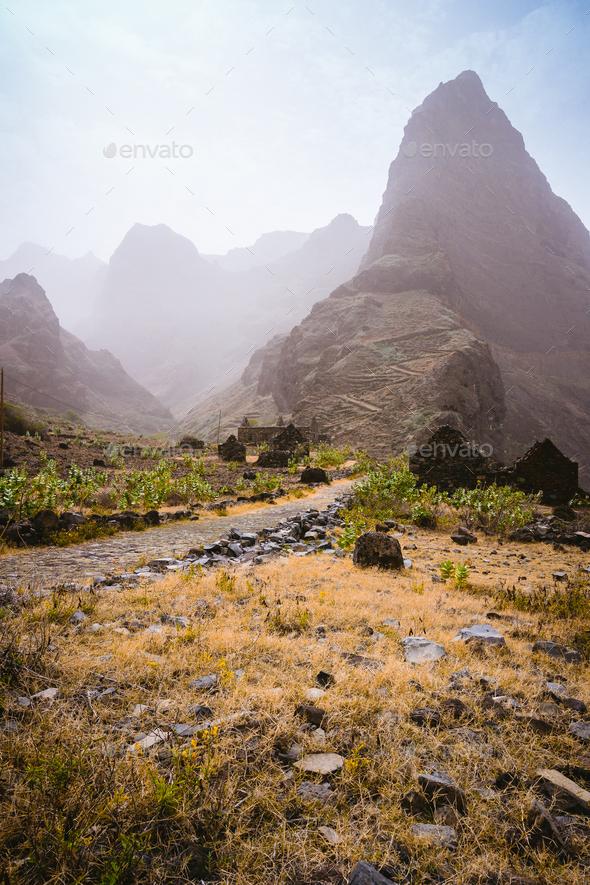 Santo Antao Island, Cape Verde. Aranhas mountain peak in the decay ruine valley houses. Stony hiking - Stock Photo - Images