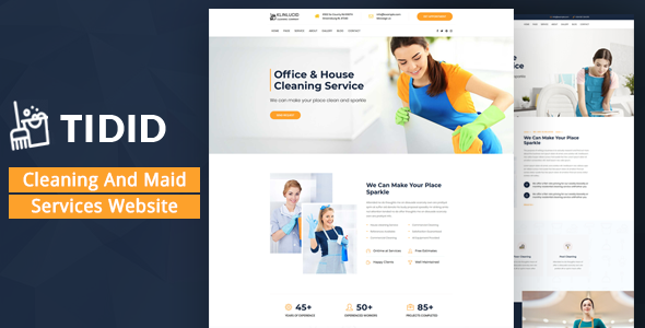 Nice Tidid – Cleaning and Maid Services Responsive Website