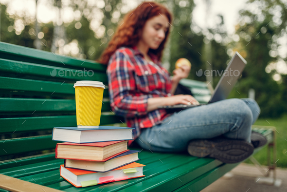 Female student having lunch on the bench in park - Stock Photo - Images