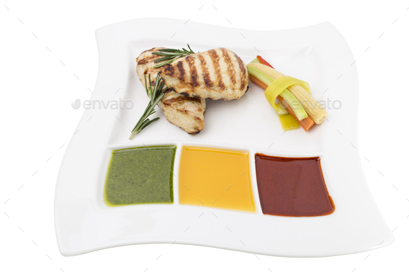 Chicken grilled briskets with three type sauces. This is isolated in a white background. - Stock Photo - Images