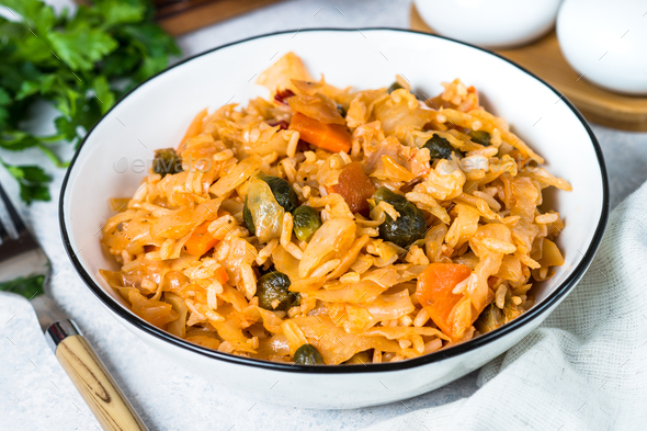 Cabbage stew with rice and vegetables - Stock Photo - Images