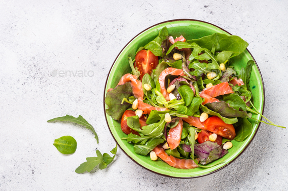 Salmon salad on white top view - Stock Photo - Images