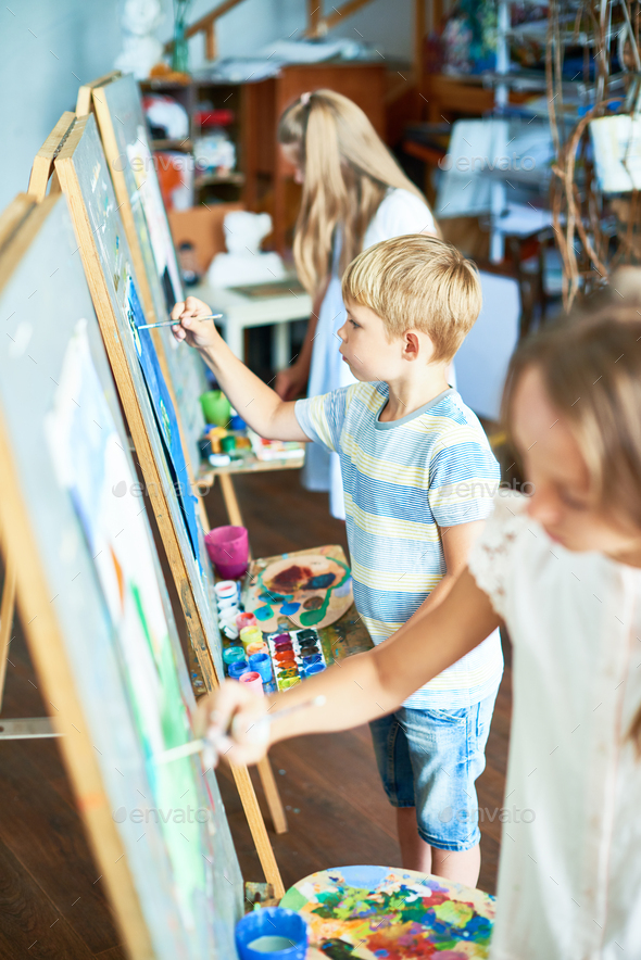 Young Artists in Art Studio - Stock Photo - Images