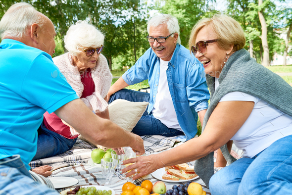 Having Picnic with Friends - Stock Photo - Images