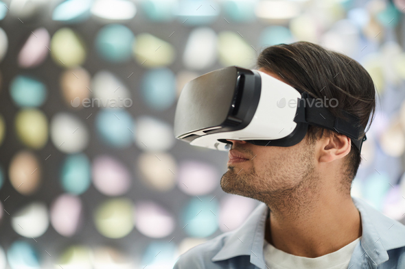 Young Man Wearing VR - Stock Photo - Images