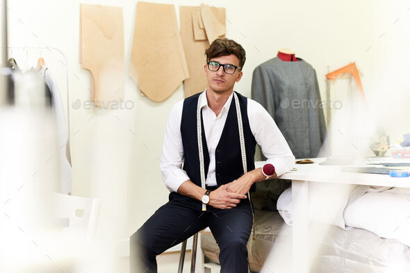 Modern Fashion Designer in Atelier - Stock Photo - Images