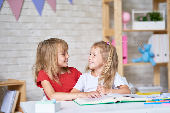 Little Girls Studying Together - Stock Photo - Images