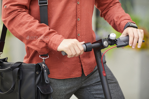Man Riding Electric Scooter Closeup - Stock Photo - Images