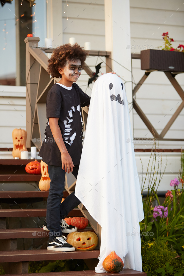 African Boy Posing on Halloween - Stock Photo - Images