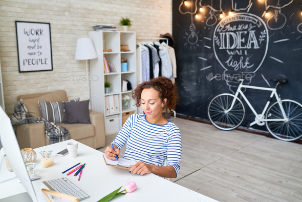 Creative Young Woman Sketching at Home - Stock Photo - Images