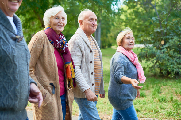 Walking at Park with Friends - Stock Photo - Images