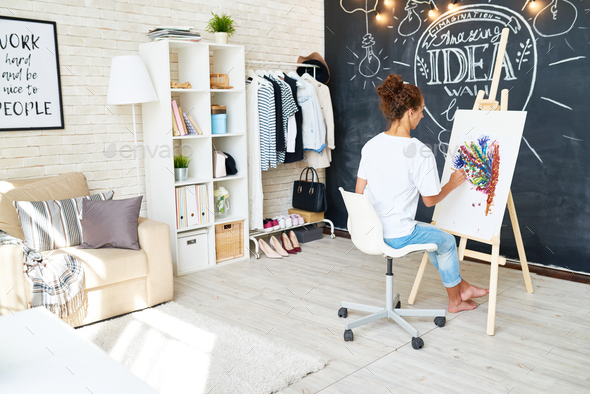 Creative Work Space for Young Artist - Stock Photo - Images