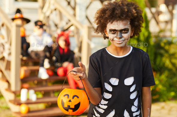 African-American Boy on Halloween - Stock Photo - Images