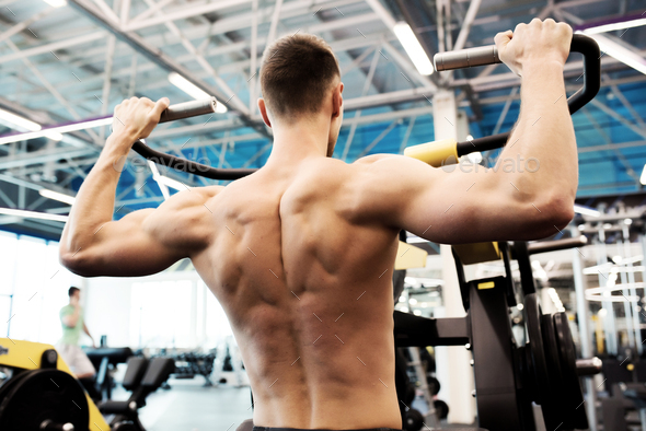 Back View of Strong Sportsman - Stock Photo - Images