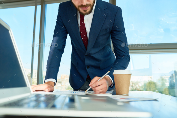 Stylish Entrepreneur Concentrated on Work - Stock Photo - Images