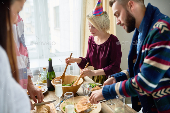 Group of Friends at Dinner Party - Stock Photo - Images