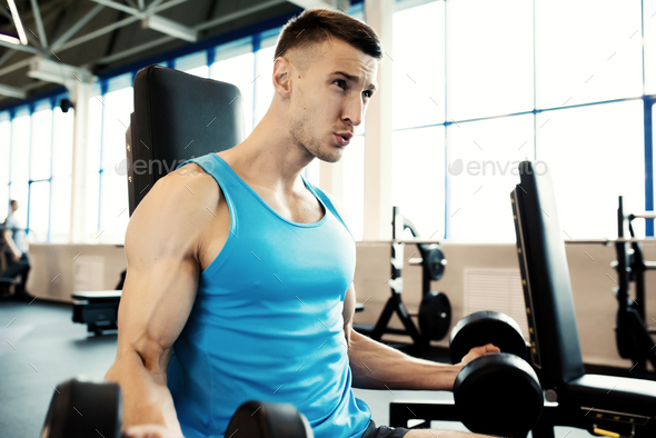 Strong Man Working Out in Gym - Stock Photo - Images
