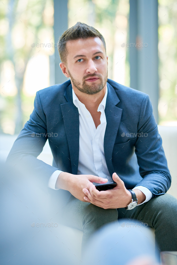 Handsome Entrepreneur at Office Lobby - Stock Photo - Images