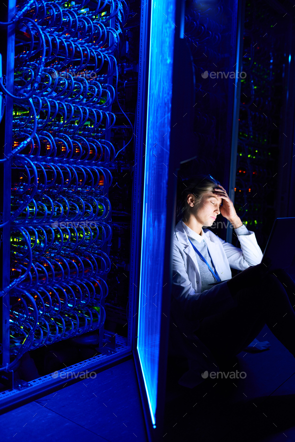 Female Scientist Working at Night - Stock Photo - Images