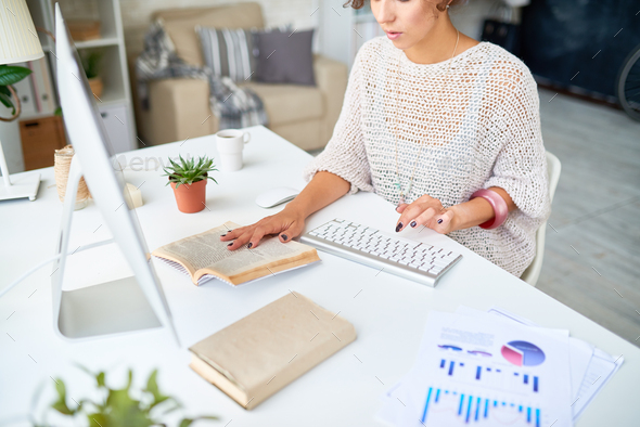 Modern Young Woman Working from home - Stock Photo - Images