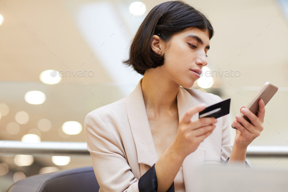 Beautiful Woman Using Online Bank - Stock Photo - Images