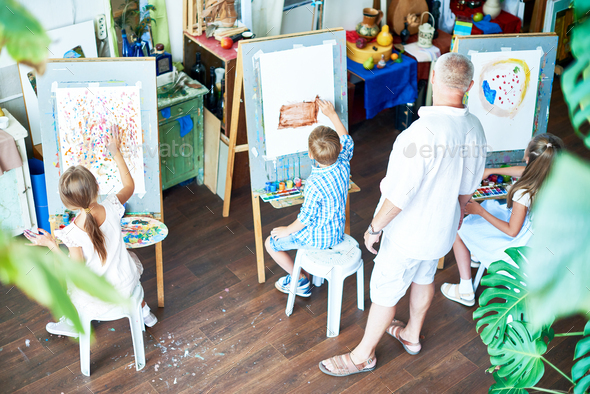 Children Painting in Art Studio - Stock Photo - Images