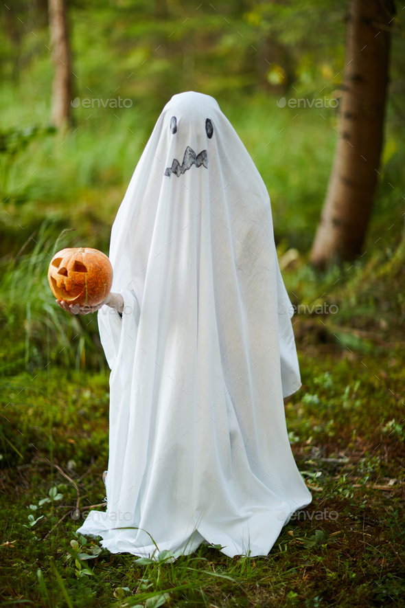 Halloween Ghost in Woods - Stock Photo - Images
