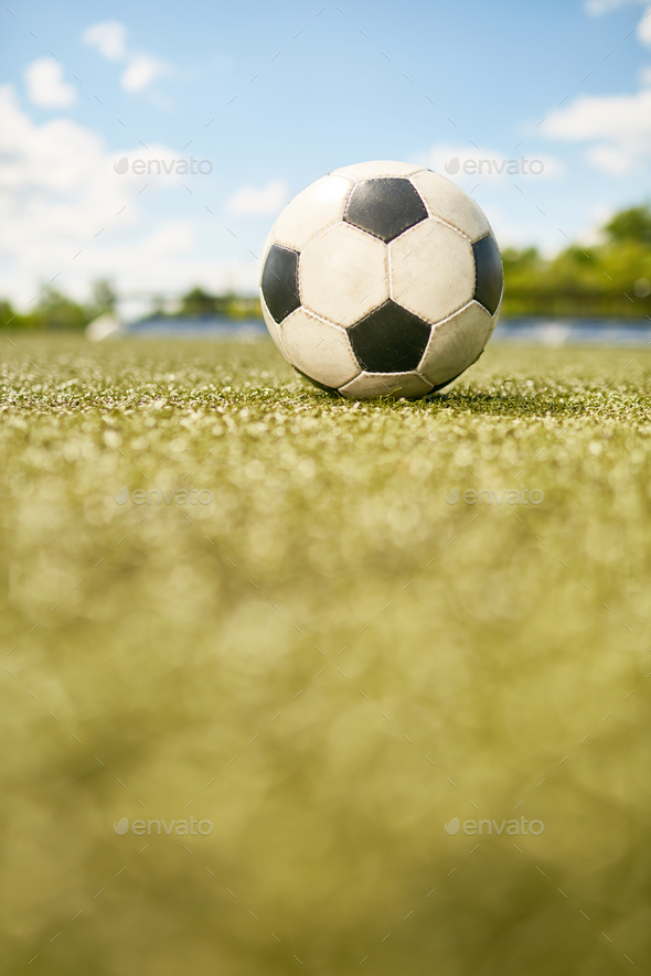 Football Ball on Grass - Stock Photo - Images