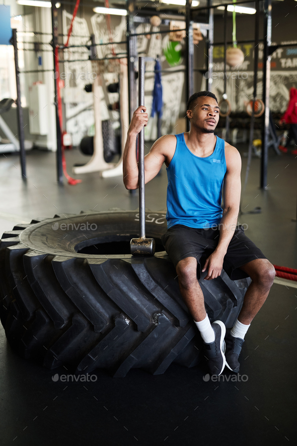 Handsome African-American Man with Cross Training Equipment - Stock Photo - Images