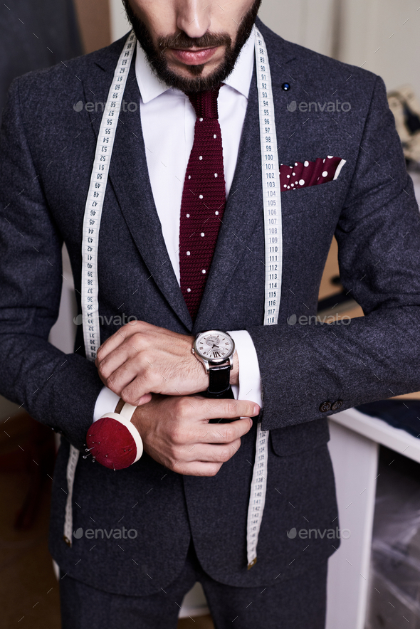 Handsome Tailor Wearing Bespoke Suit - Stock Photo - Images
