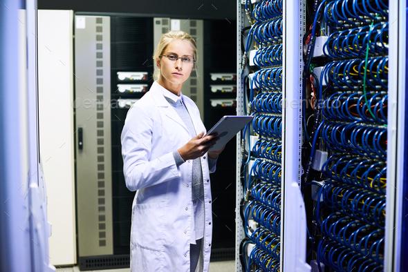 Female Scientist in Data Center - Stock Photo - Images