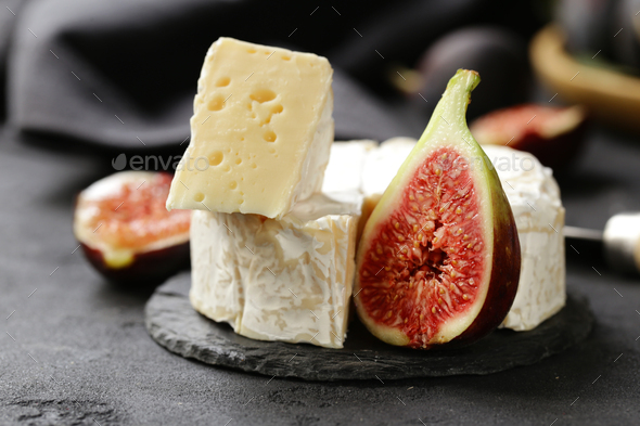 Camembert Cheese with Fresh Figs - Stock Photo - Images