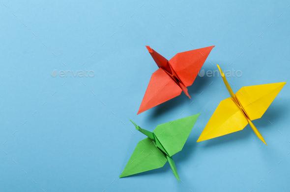 Origami Paper Crane - Stock Photo - Images