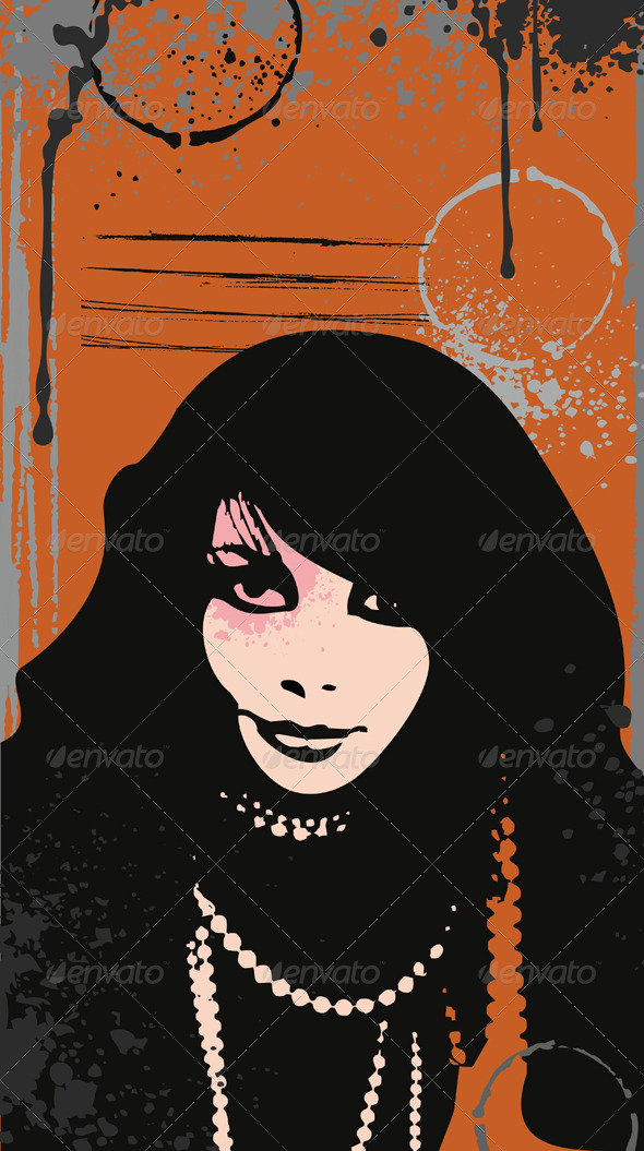 Girl Face Grunge - People Characters