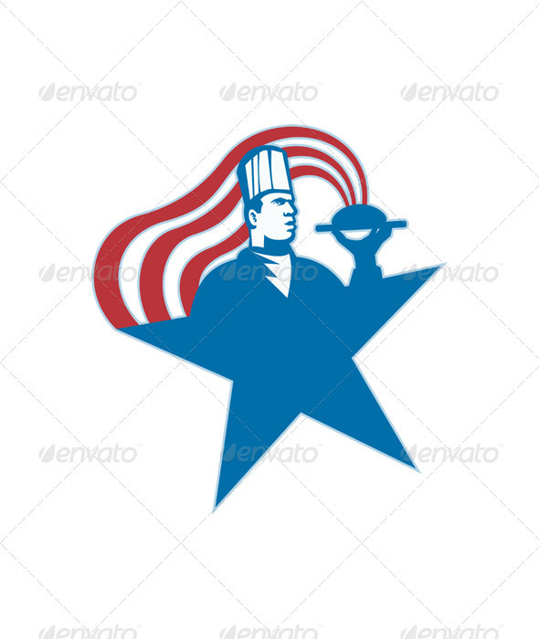 Chef Cook Baker Serving Hot Food Stars Stripes - People Characters