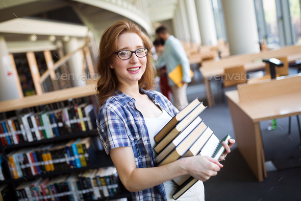 Book lover ready to study hard - Stock Photo - Images