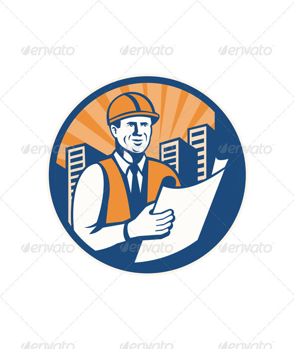 Construction Engineer Architect Foreman Retro - People Characters
