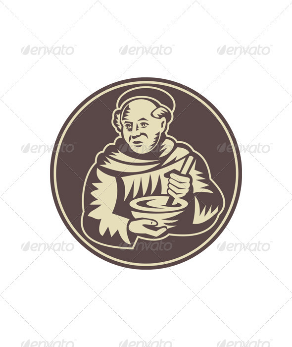 Friar Monk Cook Mixing Bowl Woodcut - People Characters
