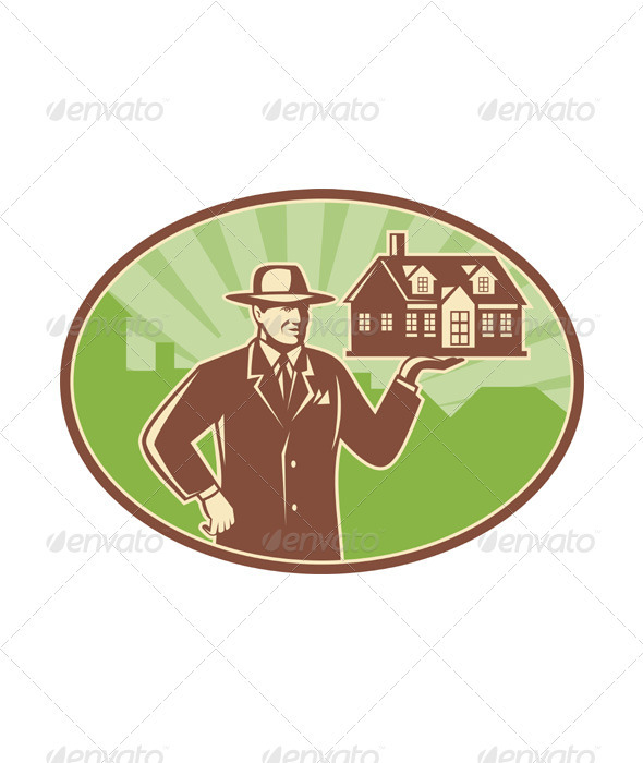 Realtor Real Estate Salesman House Retro - People Characters