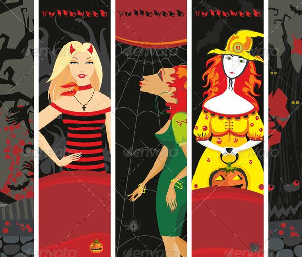 Halloween Banner Girl Witch Set Vertical - Halloween Seasons/Holidays