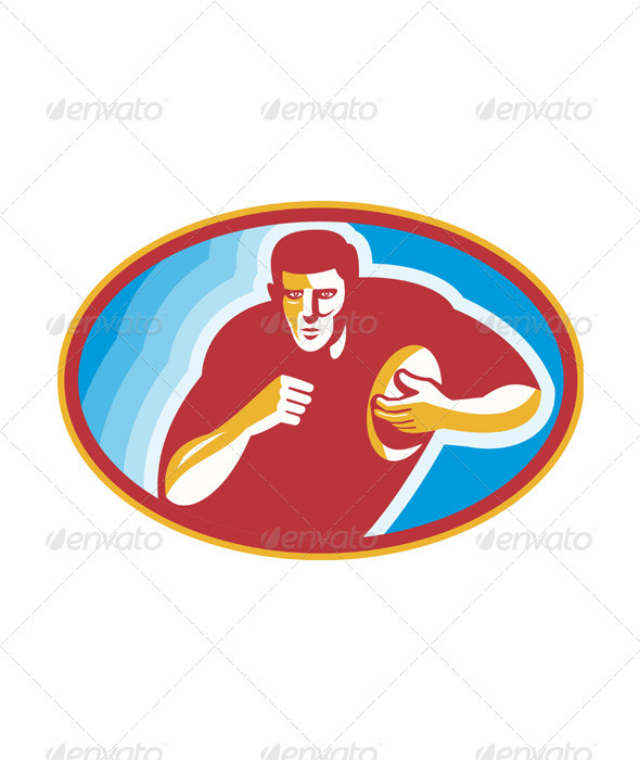 Rugby Player Running With Ball - People Characters